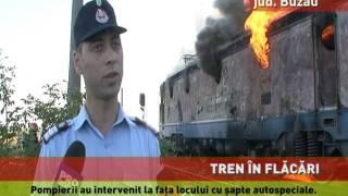 Tren în flăcări, la Buzău