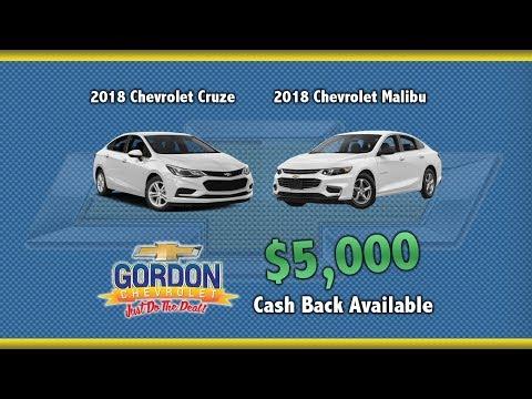 """$5,000 Cash Back Available on 2018 Malibu or Cruze"" Gordon Chevrolet, Philadelphia PA"