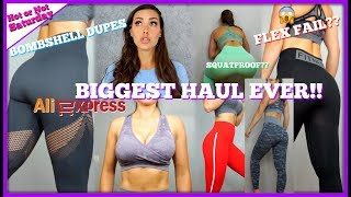 BIGGEST ALIEXPRESS HAUL EVER !! HIGH WAIST FLEX LEGGINGS - CAMO BRA - VITAL SETS & MORE