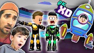 PEGA PEGA NA NOVA CASA FOGUETE DO PK XD -  CASA ESPACIAL DOS ASTRONAUTAS - Família Rocha Games