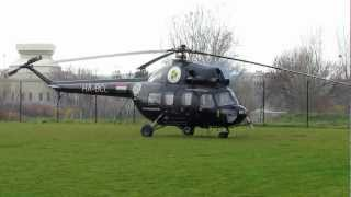 Mil Mi 2 HA-BCL helicopter engine start and takeoff / landing