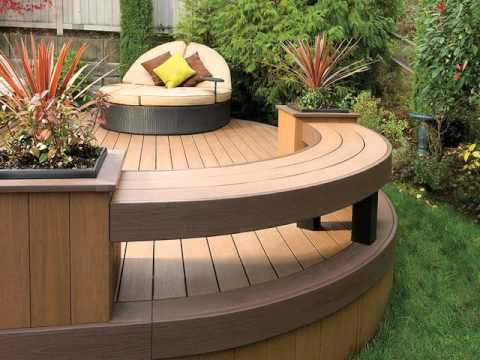 Curved outdoor seating bench youtube for Circular garden decking
