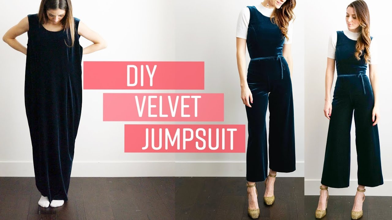 DIY velvet jumpsuit -  perfect holiday, wedding, or party outfit.
