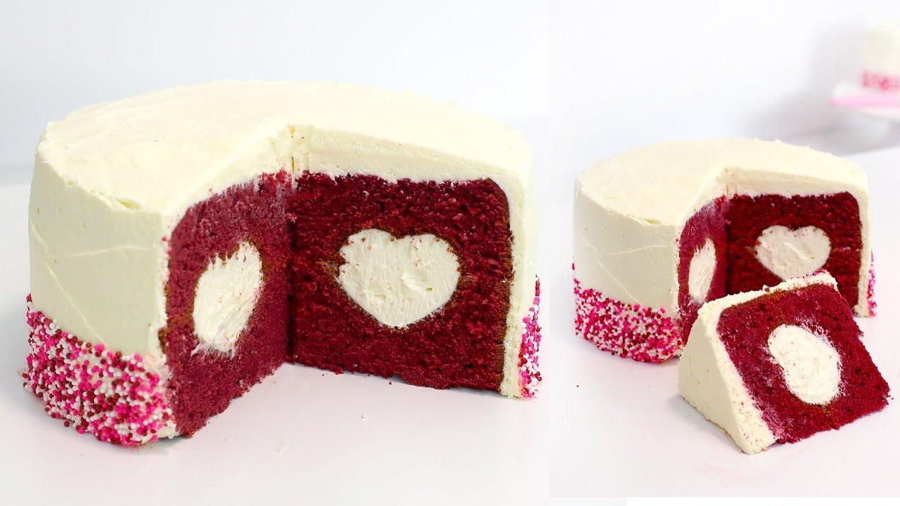 Red Velvet Surprise Heart Cake Recipe