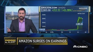 Amazon soars after earnings