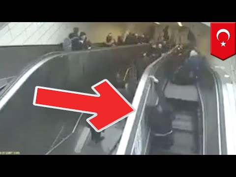 Escalator fail: Man swallowed by escalator - TomoNews