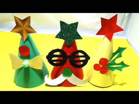 handmade christmas paper cap - diy santa claus cap from paper | christmas craft ideas- Tuber Tip