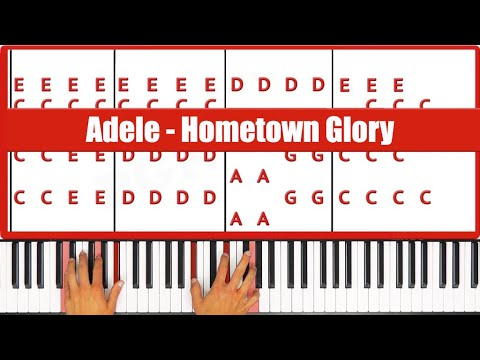 Hometown Glory Adele Piano Tutorial - EASY