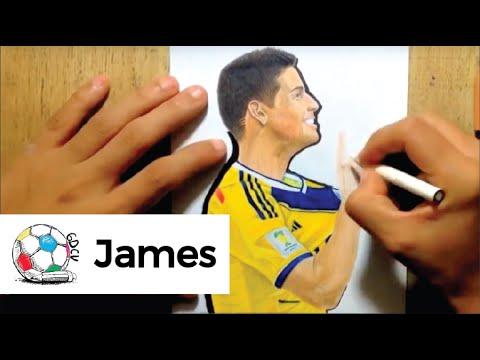 Dibujo Del Colombiano James Rodriguez Festejando Un Gol Vs Uruguay