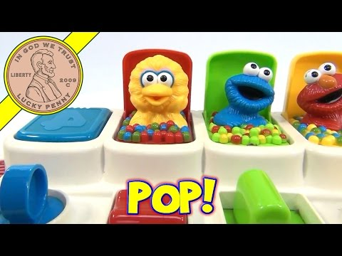Sesame Street Talking Pop Up Pals, 1995 Tyco Toys - Elmo, Cookie Monster, Big Bird & Zoe