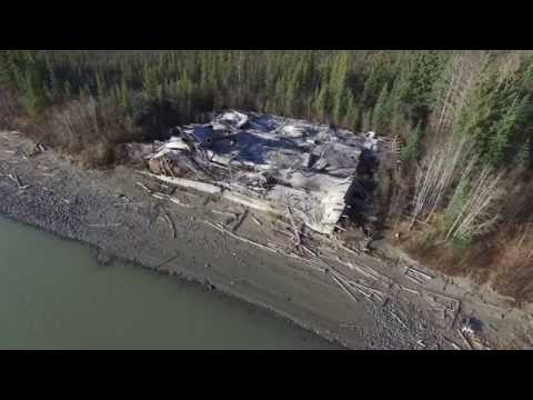 Drone view of the Sternwheeler Graveyard, Dawson City, Yukon