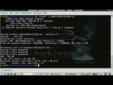 Cracking RAR passwords with cRARk in Backtrack 4 (credits ta