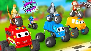 Funny Forest Animals with Baby Elephant Monster Bike \u0026 Car Race Competition   Animal Comedy Cartoons
