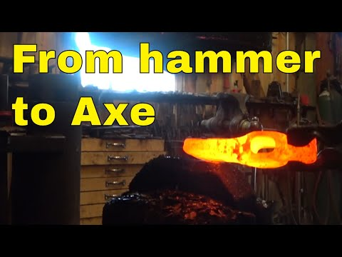 Camp axe forged from repurposed ball peen hammer