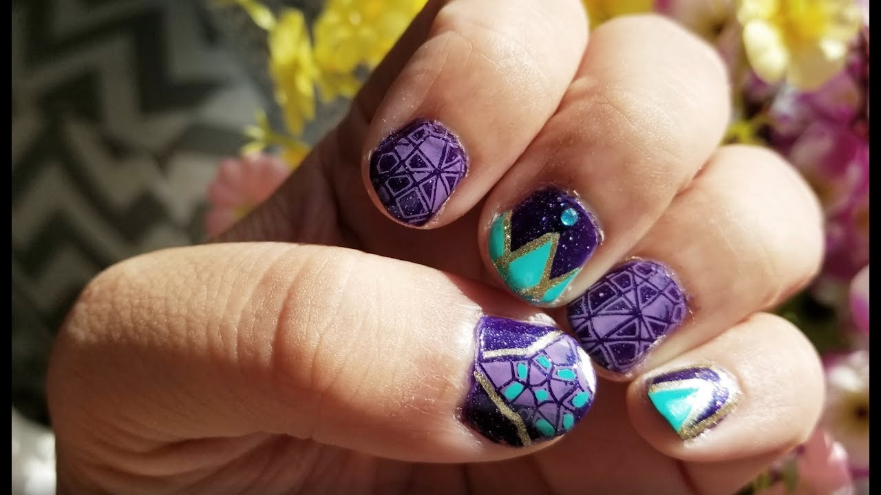 Nail Art Ideas purple and gold nail art : ⭐Purple and Gold⭐