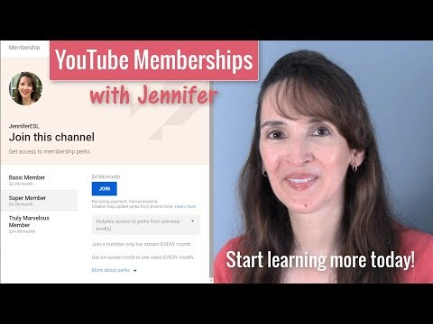 YouTube Membership Levels with JenniferESL ????? Join today!