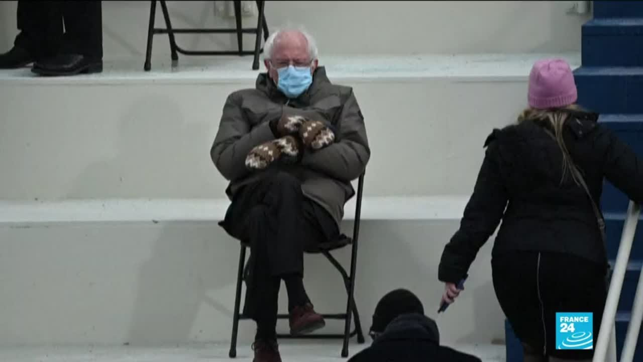 Bernie Sanders Becomes Internet Meme With Giant Mittens During Us Inauguration Ceremony Youtube