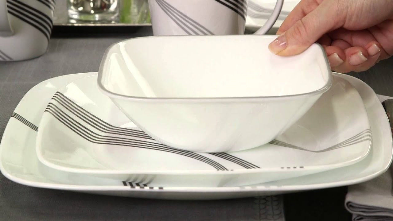 & Corelle - Urban Arc 16 Piece Dinnerware Set - YouTube