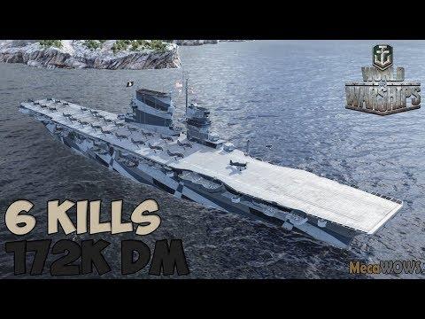 World Of WarShips | Lexington | 6 KILLS | 172K Damage - Replay Gameplay 4K 60 Fps