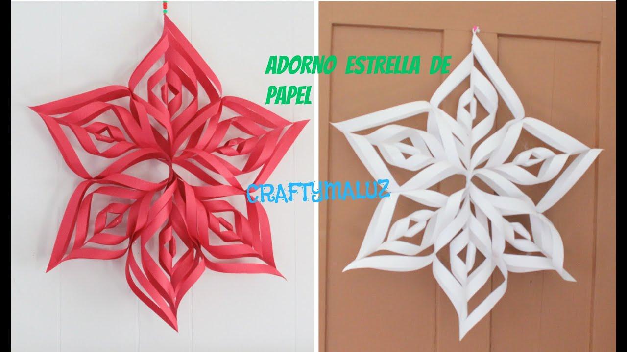 Adorno navide o copos de nieve estrella de pape - Adornos de navidad con papel ...