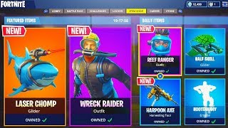 "NEW ""Laser Chomp"" LEGENDARY GLIDER! - NEW Wreck Raider + Reef Ranger SKINS! (Fortnite Live Gameplay)"