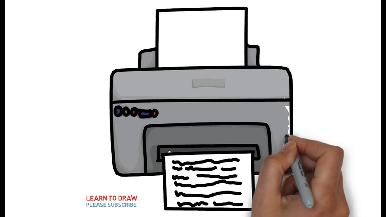 How to draw a printer for kids step by step - YouTube