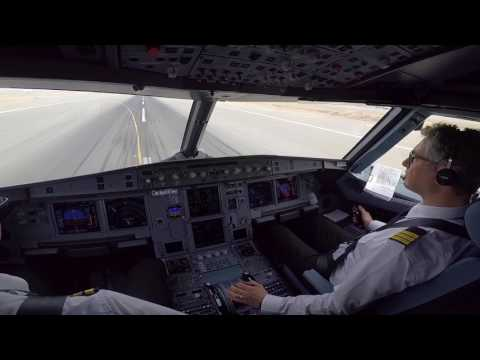 Jeddah, OEJN 34R A320 Cockpitview Landing