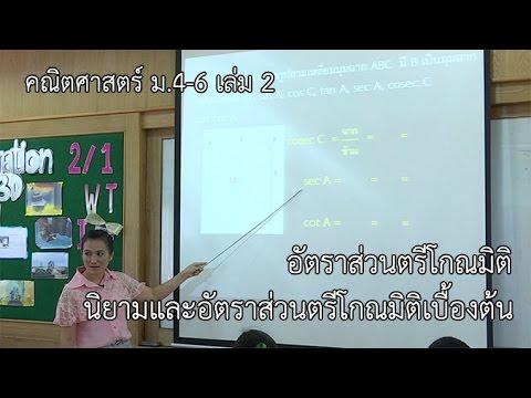 คณิตศาสตร์ ม. 4-6 เล่ม 2 อัตราส่วนตรีโกณมิติ นิยามและอัตราส่วนตรีโกณมิติเบื้องต้น ครูธัญญา สติภา