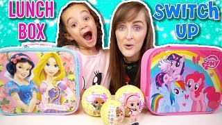 LUNCHBOX SWITCH UP CHALLENGE REAL FOOD VS LOL SURPRISE CONFETTI POP EDITION | KID VS PARENT