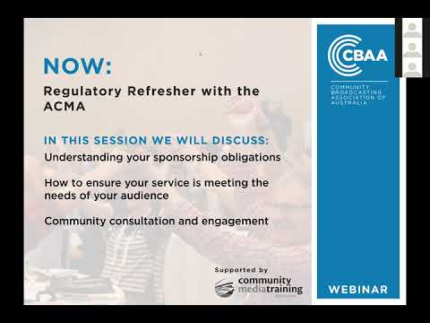 CBAA Webinar: Regulatory Refresher With The ACMA