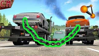 Chained Trucks car bollards crashes BeamNG Drive #1