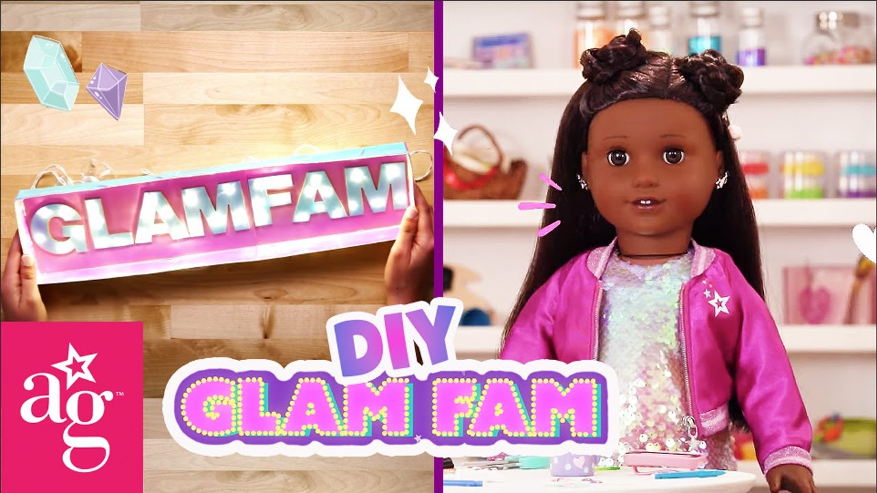 @American Girl Doll Crafts | Harper & Kim DIY the COOLEST Marquee Sign! | GLAM FAM KNOWS HOW