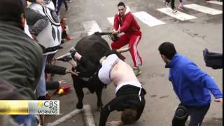 Carnaval del Toro American gored Running with the Bulls in Spain