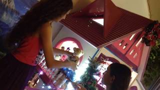 Our New Barbie Doll House ( House Tour ) With Christmas Decorations Dec. 2013