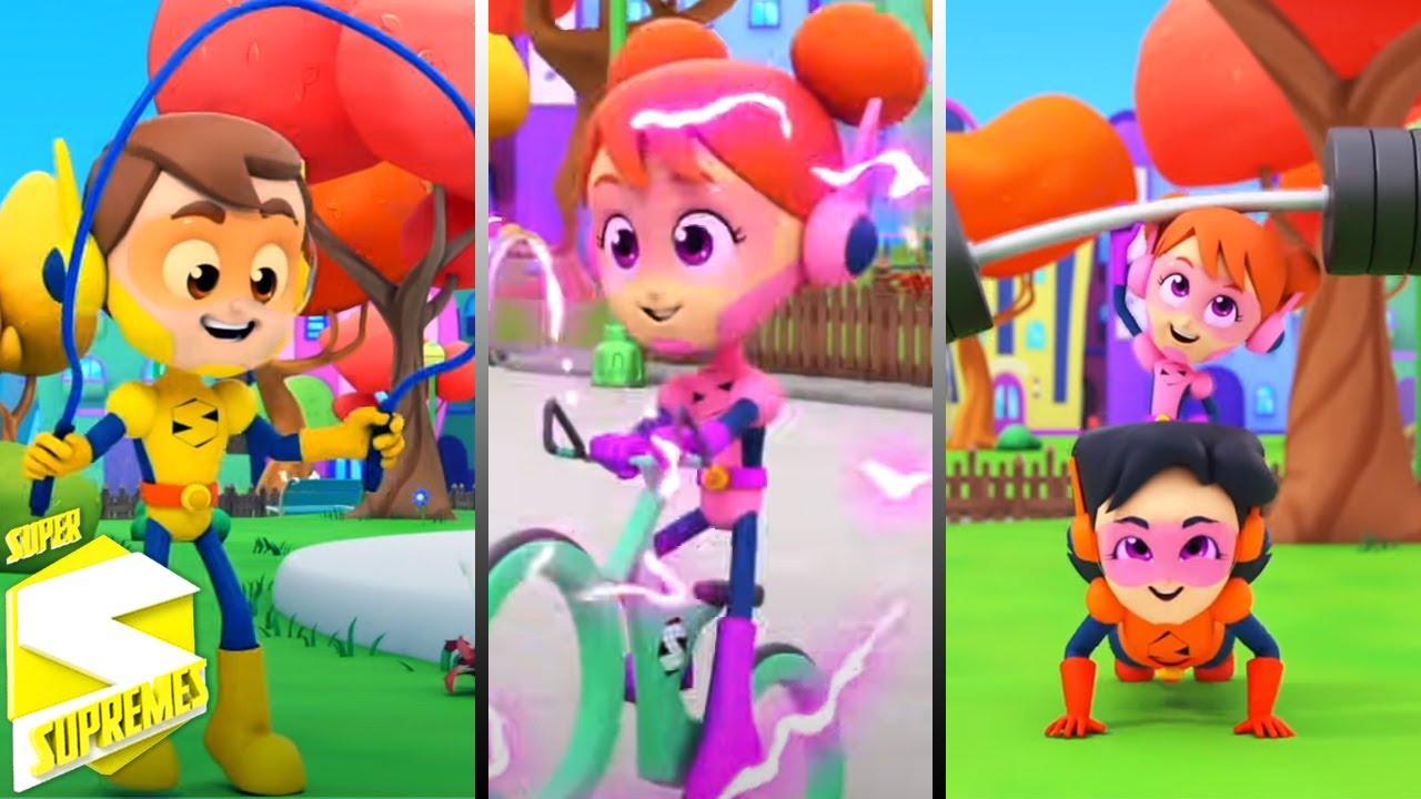 Canción de ejercicio   Videos para bebes   Educación   Super Supremes Español   Dibujos animados