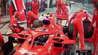 Kimi drives over mechanic Bahrain 2018