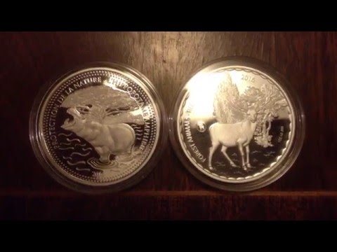 2016 Chad Hippo and Red Deer Stag Silver Coins