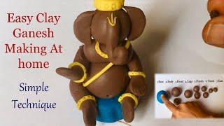 How To Make Ganapati At Home-Clay Ganesh Making-Easy Ganesha Idol Making With Clay-Vinayaka Tayari
