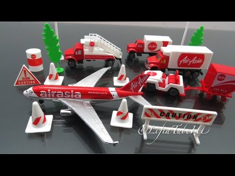 Mainan anak Airport Playset Toy - Airfield Series AirAsia Plane  Review @LifiaTubeHD