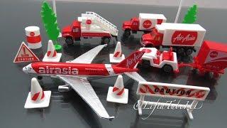 Mainan anak Airport Playset Toy - Airfield Series AirAsia Plane  Review @LifiaTubeHD