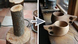 Making Kuksa 荒っぽいククサの作り方!【桜 木工 キャンプ用品 コップ DIY クラフト】