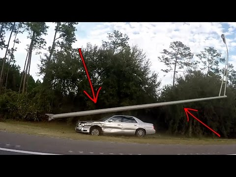 Driver Has a STROKE, Crashes and SMASHES into Street Light