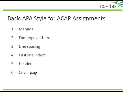 Basic APA Formatting for ACAP Assignments - YouTube