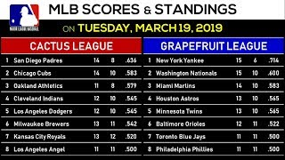 MLB Scores and MLB Standings Today (March 19, 2019)