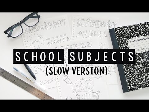 Doodle Words : School Subjects (Slow Version) | Doodles by Sarah