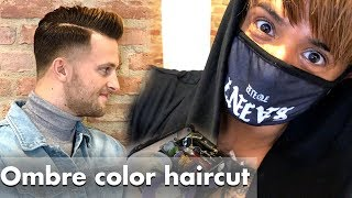 Perfect haircut made with hair dye, tweezers and lots of passion for mens hair ombre color