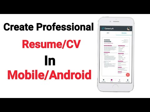 How to Create Resume/CV in Android Mobile || Create professional Resume in Mobile|| Latest 2019