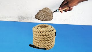 cement pot making at home   how to make rope planter with waste clothes and Cement   home decor