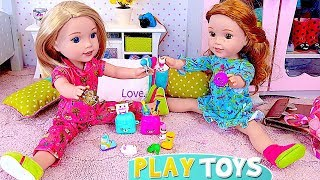 AG Baby Dolls Play with Shopkins Toys at Slumber Party!  🎀