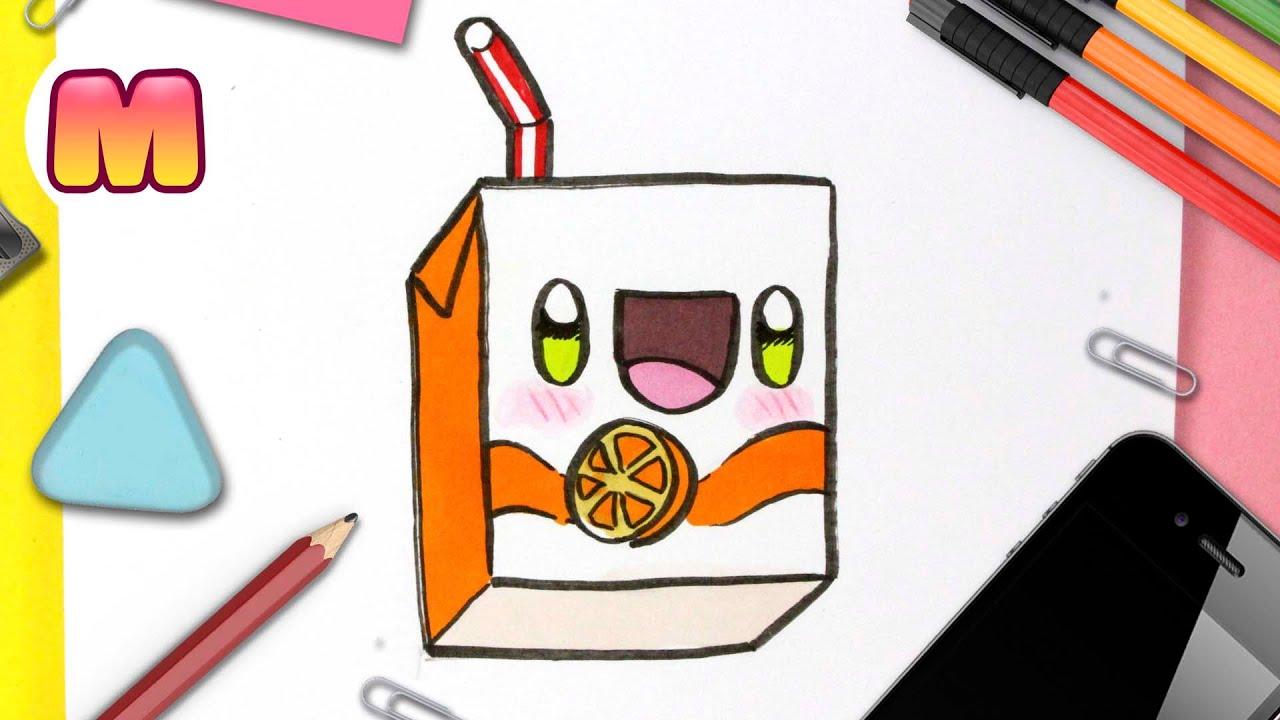 COMO DIBUJAR UN ZUMO DE NARANJA KAWAII - dibujos kawaii faciles - dibujar comida kawaii